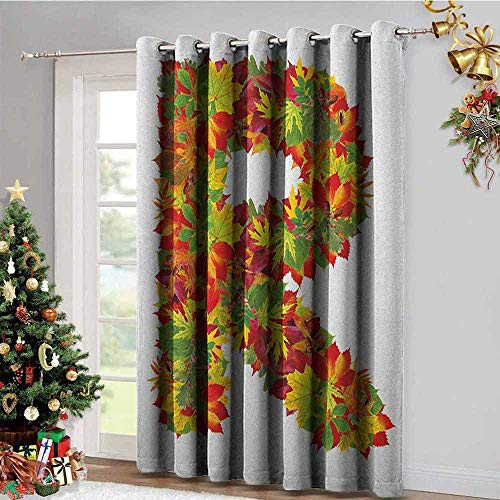 Letter R Blackout Gromets Curtain Drapes for Babys Room, Floral R Made with Maple Leaves Bouquet Essence Autumn Inspirations Initials Theme Soft Darkening Curtains, Multicolor, W120 x L108 Inches ()