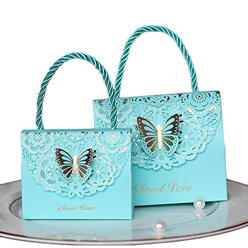 Eyxia Wedding Favor Boxes Flower Laser Cut Party Favors Bags Baby Shower Candy Gift Box Set Butterfly Event Decorations Wholesale 20pcs Blue