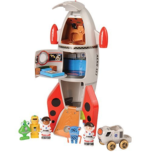 CP Toys by Constructive Playthings - Space Mission Rocket Ship 7-Piece Playset - Features Animation and Sounds