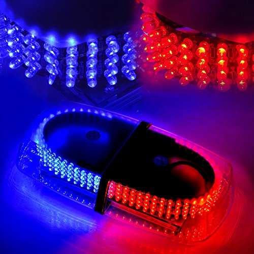 Xprite Blue & Red 240 LED Law Enforcement Emergency Hazard Warning LED Mini Bar Strobe Light with Magnetic Base (Light Strobe Blue Red Bar)