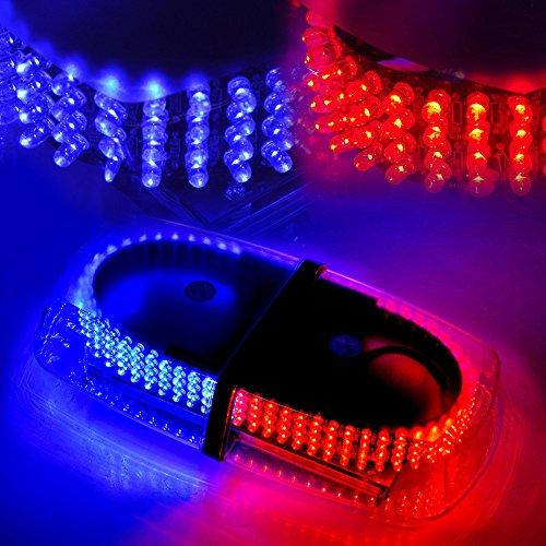 Xprite Blue & Red 240 LED Law Enforcement Emergency Hazard Warning LED Mini Bar Strobe Light with Magnetic Base (Blue Red Bar Light Strobe)
