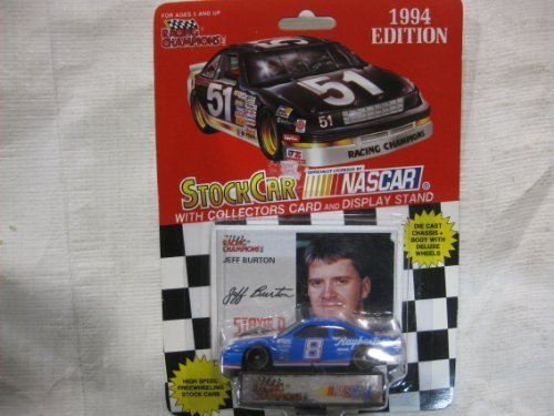 NASCAR #8 Jeff Burton 1994 Racing Team Stock Car With Driver's Collectors Card And Display Stand. Racing Champions Red Background Black Series 51 Car ()