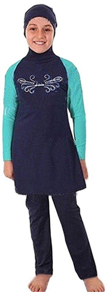 Muslim Swimwear for kid Girls Children Modest Islamic Hijab Swimsuits Burkini