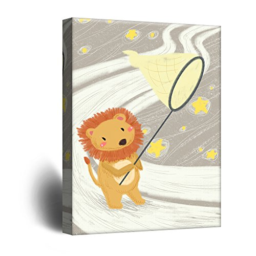 Cute Cartoon Animals A Lion Catching Stars with a Net Kid