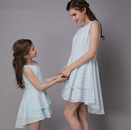 MNQ/ Geometric lace dresses, mother and daughter summer. bow tie pure color fun wear. swallow-tail skirt. blue dress SADFSF