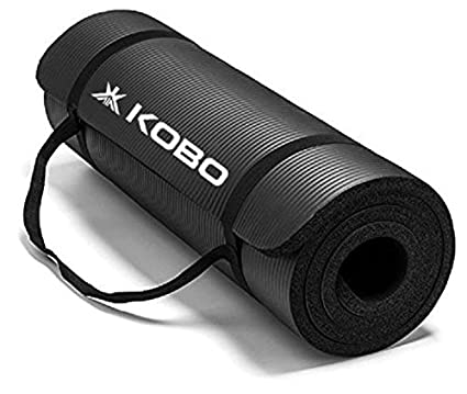 Soft Balck Yoga Gym Exercise Thick Mat With 28 postures instruction 180 cm x 60 cm