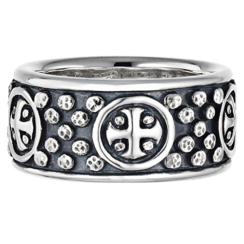 Tribal Sun Sterling Silver Ring (Sun Cross Ring With Hammered Studs In Sterling Silver By Scott Kay)