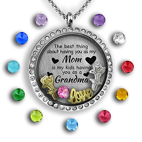 Unique for Grandma Necklace | Perfect Gift for Mom Necklace | Floating Charm Locket Necklace Gifts for Mom | Mom Heart Necklace | Grandma Gifts Mother Necklace Grandmother Necklace Filled with Charms (Mothers Day Gifts Cheap)