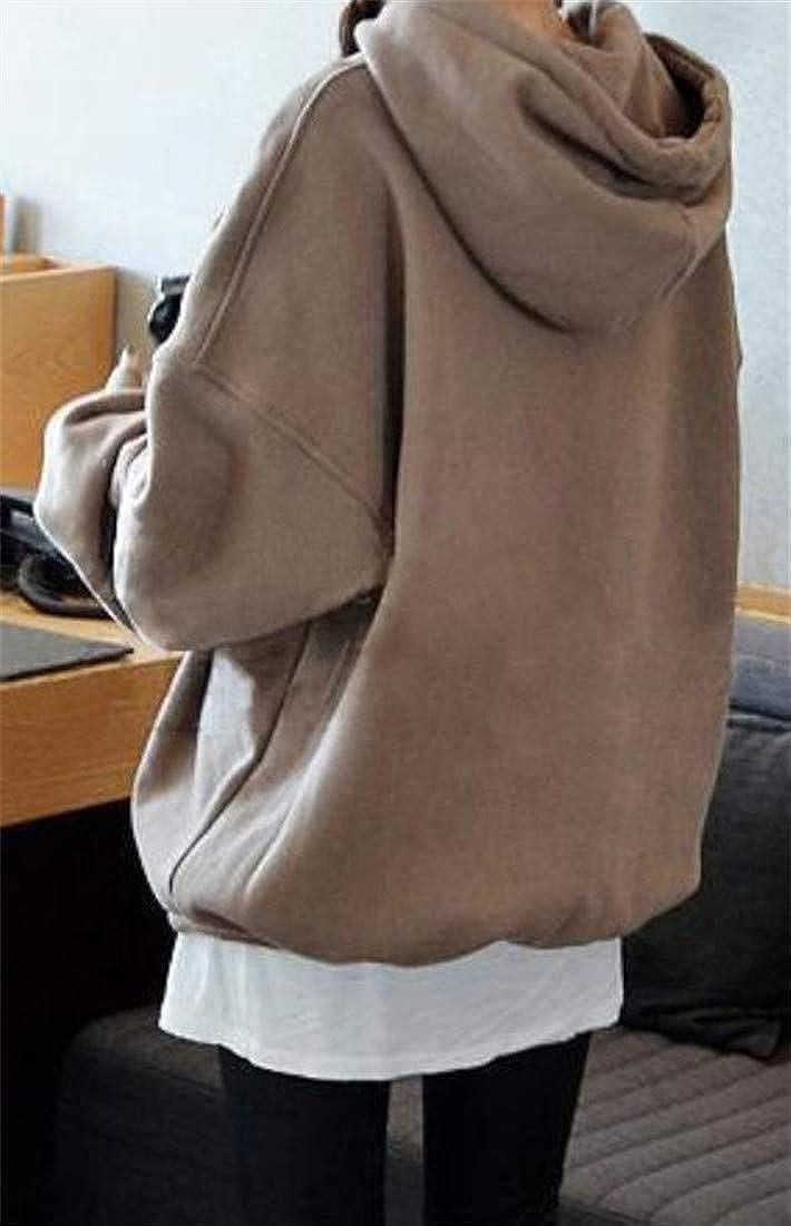 XiaoTianXinWomen XTX Women Hooded Pullover Winter Pure Color Fleece Plus Size Sweatshirt