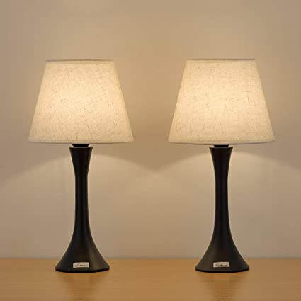 Haitral Table Lamps Set Of 2 Minimalist Metal Bedroom Lamps With