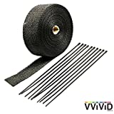 "VViViD Black Fiberglass Heat Shielding Exhaust Wrap Roll Including 10 Free Stainless Steel Locking Zip Ties (2"" x 50ft Roll)"