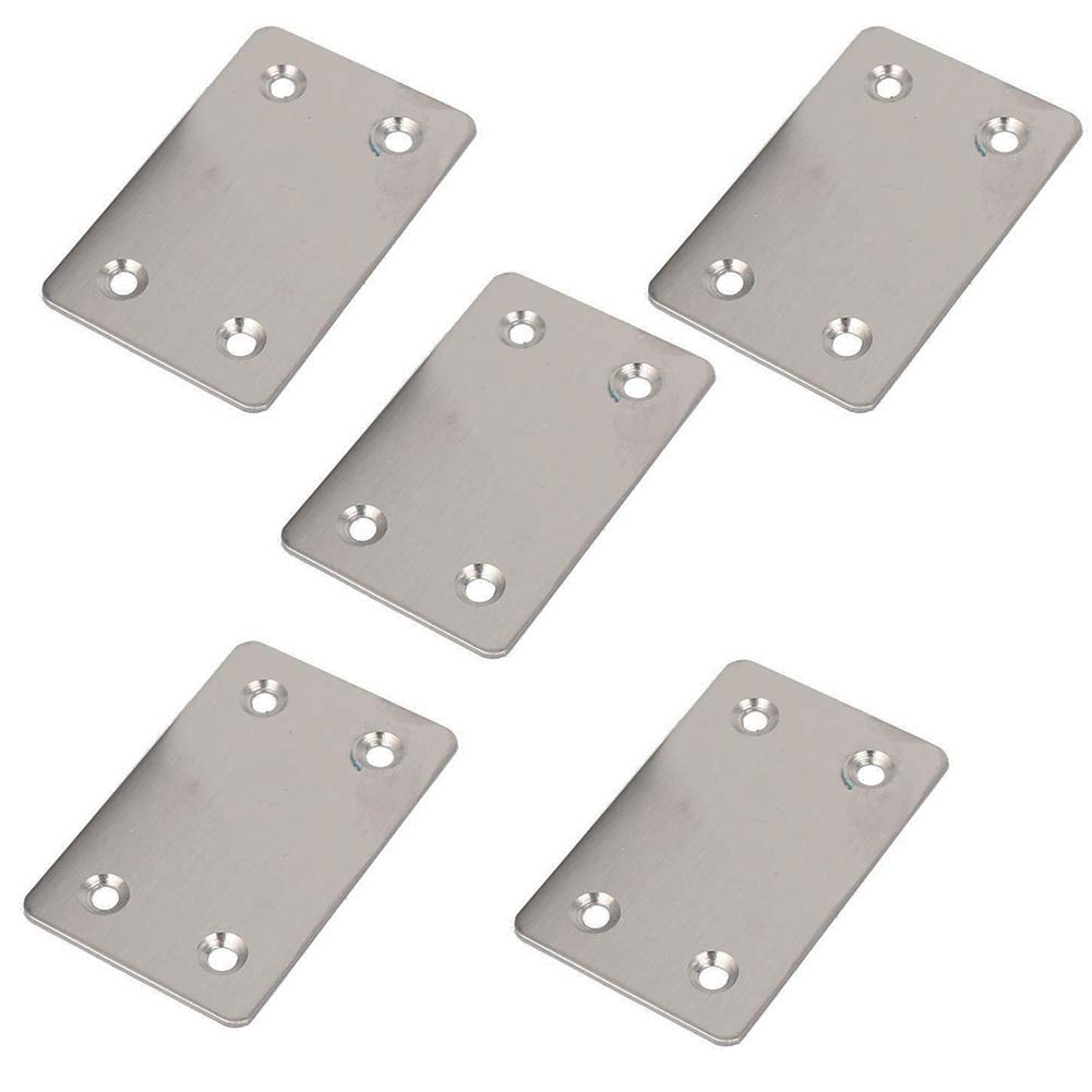 Cyful Stainless Steel Flat Repair Mending Fixing Plate Brackets Straight Metal Corner Braces 5 Pcs 60x38mm