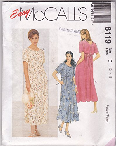 McCalls 8119 Easy Pullover Dress Back Buttons and Ties Empire Waist With Pleats Sewing Pattern (Size 12-14-16)