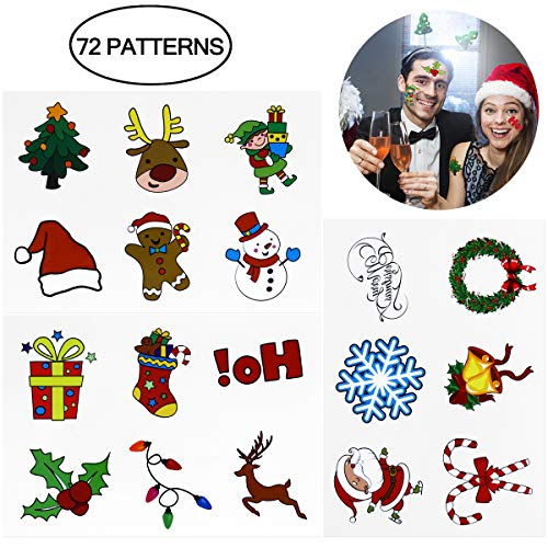 Holiday Tattoos - Tinksky Christmas Holiday Cartoon Temporary Tattoo Stickers Sheets Christmas Gift for friends 72PCS