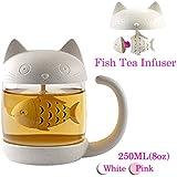 Tasse à thé en verre de chat Bouteille d'eau-Avec filtre de filtre à infusion de pain de poisson 250ML (8 oz)