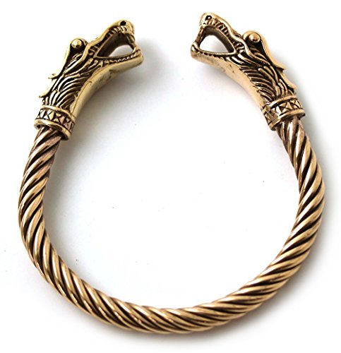 Bronze Norse Viking Mjolnir Dragon Head Twisted Cable Bangle Cuff Bracelet Arm Ring Pagan Jewelry - 70's Costumes Ireland