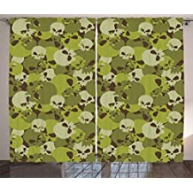 Camo Curtains by Ambesonne, Militaristic Composition of Skulls Scary Head Skeletons Soldiers Grunge, Living Room Bedroom Window Drapes 2 Panel Set, 108W X 63L Inches, Green Light Green Beige