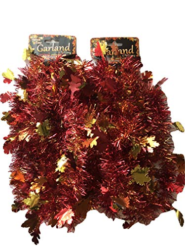 Forum Novelties Tinsel Garland Fall Leaves Harvest Party Set of 2- 9 ft long each
