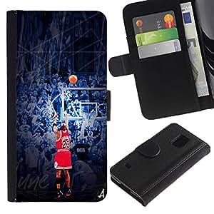 23 J0rdan Baloncesto - la tarjeta de Crédito Slots PU Funda de cuero Monedero caso cubierta de piel Para Samsung Galaxy S5 V SM-G900