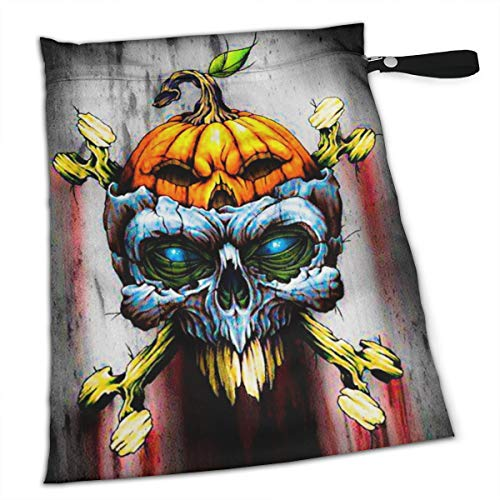 Pummbaby Samhain Halloween Skull Pumpkin Workout Laundry Reusable Wet Dry Separation Travel Beach Gym Tote Bags Dirty Clothes and Wet Wipe Holder for Diaper Packing Bag Pads Hanging Set -