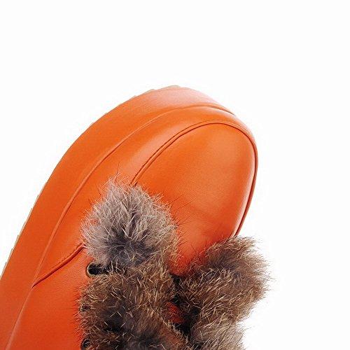 AllhqFashion Damen Niedrig-Spitze Schnüren Mittler Absatz Rund Zehe Stiefel Orange