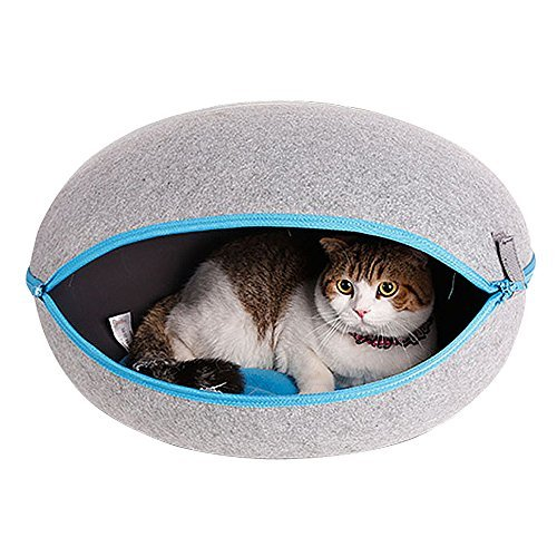 CocoGo® Nature Egg Shape Cozy Felted Caves for Cat Small Dog ()