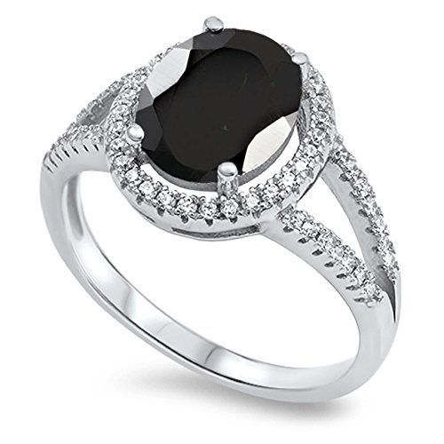 925 Sterling Silver Oval Faceted Natural Genuine Black Onyx Halo Ring Size 10