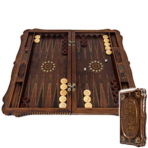 Helena wood art Ottoman Sultan Exlusive Backgammon Set | Classy Shaped Mother of Pearl Inlaid Sides | Walnut