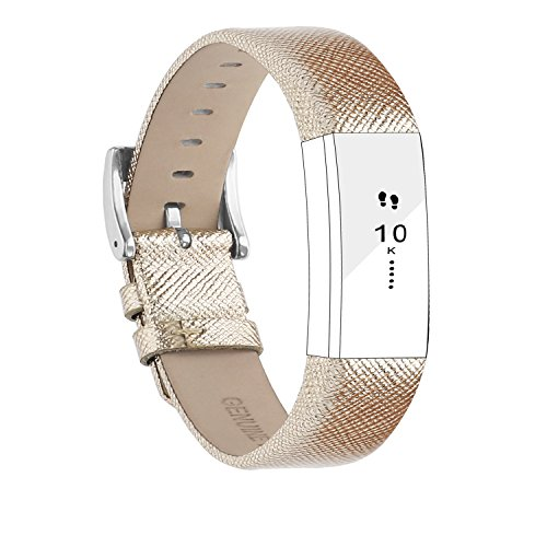 POY Replacement Bands Compatible for Fitbit Alta and Fitbit Alta HR, Genuine Leather Wristbands, Gold