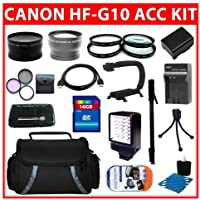 Professional Accessory Kit For Canon VIXIA HF G10 HFG10 Flash Memory Camcorder Include Canon BP-808 Replacement Battery + Replacement Charger + 32GB SDHC Memory + Reader + Wide Angle Lens + Telephoto Lens + Filter Kit + Close UP Lens Kit + Video Light + Video Bracket + HDMI + Monopod + Deluxe Case + More