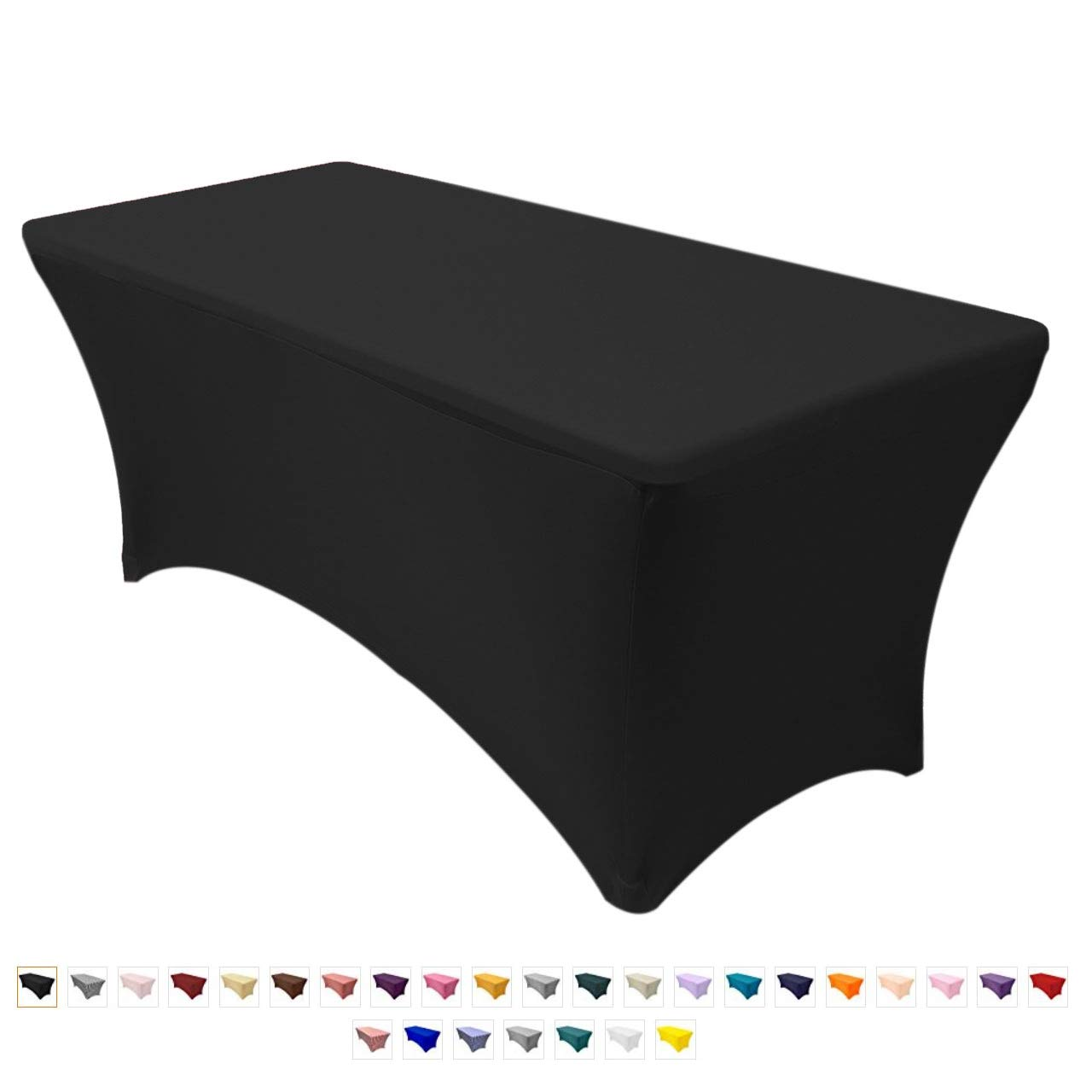Your Chair Covers – 6 ft Rectangular Stretch Spandex Table Cover – Black, 72 Length x 30 Width x 30 Height Fitted Tablecloth for Standard Folding Tables,Party Table Cloth