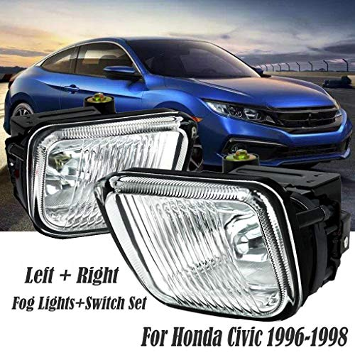 Sodoop 1 Pair of Fog Lights, Set of 2 Clear Lens Lamps + Switch Fog Light Compatible for Honda Civic 1996-1998 Bulbs (Shipped by USA)