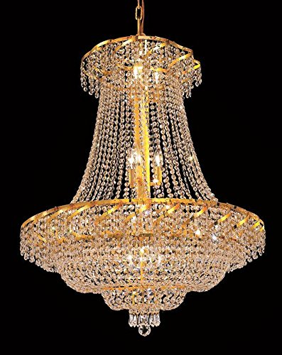Elegant Lighting ECA2D30G/RC Royal Cut Clear Crystal Belenus 18-Light, Two-Tier Crystal Chandelier, Finished in Gold with Clear Crystals Model-ECA2D30G/RC ()