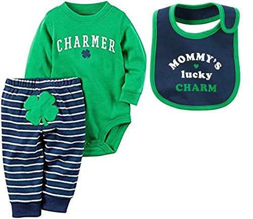 [Carters My First St. Patricks Day Clover 3 Piece Set: Long Sleeve Bodysuit, Pants and Bib Set (9 Months, Everyone Loves An Irish] (Cute St Patricks Day)