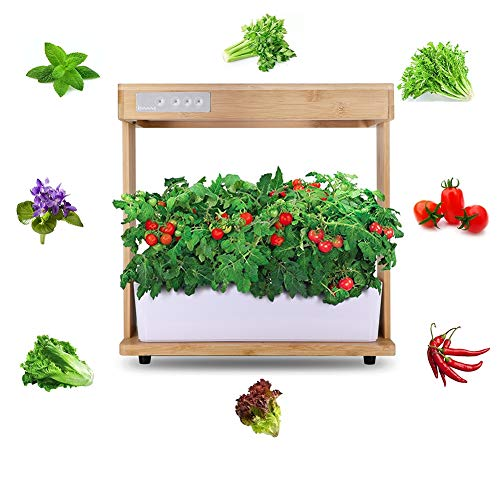 Full Spectrum Multifunction Smart Herb Garden Kit LED Grow Light Nature Bamboo Frame,Seeds Not Included Indoor Plants…