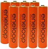 "Eneloop AAA 4th Generation NiMH Pre-Charged Rechargeable 2100 Cycles 8 Battery & Holder ""Orange Color"" Pack of 8"