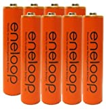 Eneloop AAA 4th Generation NiMH Pre-Charged Rechargeable 2100 Cycles 8 Battery & Holder ''Orange Color'' Pack of 8