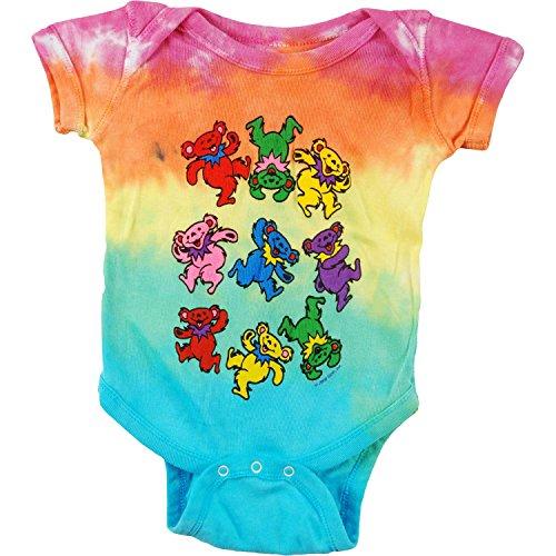 Grateful Dead Baby Boys' Spiral Bears Bodysuit 0-6 Months Multi