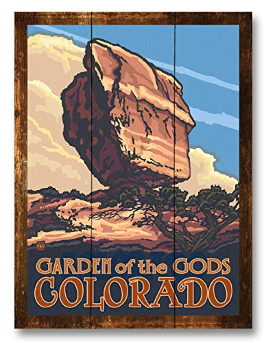 Balanced Rock Garden of The Gods Colorado Rustic Wood Art Print by Paul A. Lanquist (9
