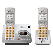 AT&T DECT 6.0 2 Cordless Phones with Caller ID, ITAD, Handset Speakerphones, White and Grey