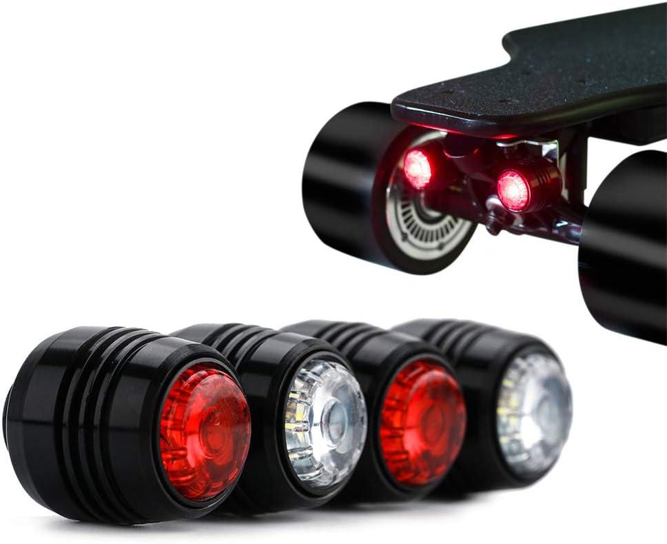 Led Lights for Electric Skateboard Longboard IWONDER V2.0 Skateboard Light Waterproof Brightness USB Rechargeable Safety Longboard Headlights and Tail Lights
