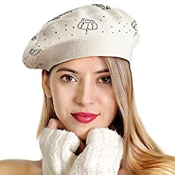 Off White-black Rhinestones 2 Layers Wool French Hat
