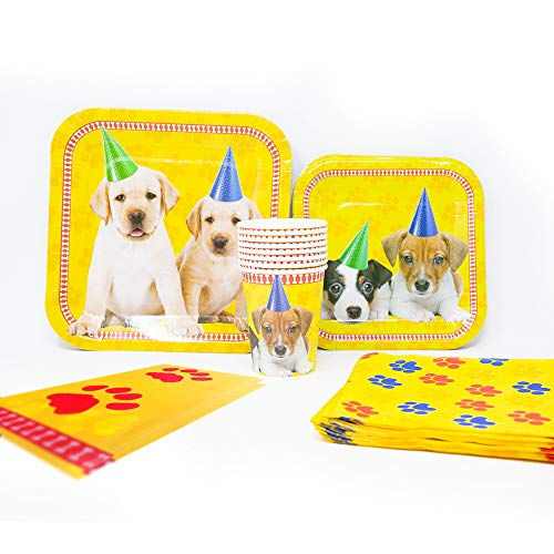 Blue Orchards Puppy Deluxe Party Packs (70 Pieces for 16 Guests!), Puppy Party Supplies, Birthday Tableware -