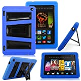Kindle Fire HD 7' 2014 Case - Cellularvilla Hybrid Armor Hard Soft Heavy Duty Dual Layer Combo Case Cover with Kickstand For Amazon Kindle Fire HD 7' inch 2014 4th Generation (Blue)