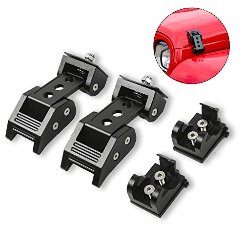RT-TCZ Black Stainless Steel Latch Locking Hood Catch Kit for 2007-2017 Jeep Wrangler JK JKU