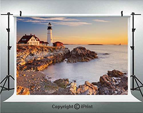 United States Photography Backdrops Cape Elizabeth Maine River Portland Lighthouse Sunrise USA Coast Scenery,Birthday Party Background Customized Microfiber Photo Studio Props,5x3ft,Light Blue Tan ()