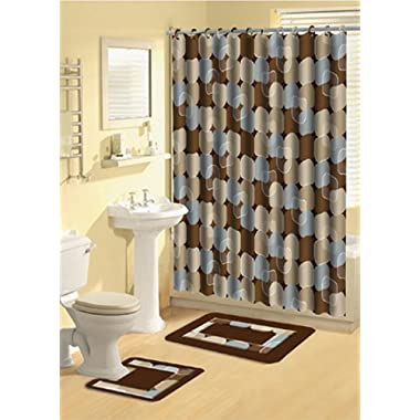 Home Dynamix Bath Boutique Poly-Acrylic 15-Piece Bathroom Set, Blue