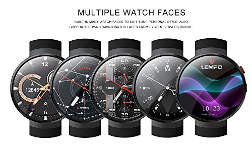 51P1ivqBYoL - LEMFO LEM7 4G Smart Watch Android 7.0 With Sim 2MP Camera GPS WIFI MTK6737 1GB + 16GB Smartwatch Phone Men Wearable Devices (2018) (black)