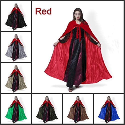 Capuche 4XL Femmes No Cape Velvet Longueur Costumes l Kids Fantaisie Chale Girl Cape Soild Couleur Halloween Taille Manteau Red De Pleine Lady Cosplay qfqBrX