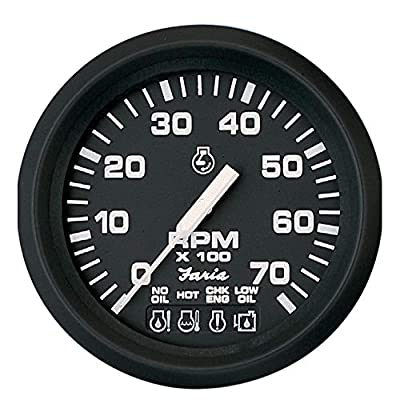 "Faria 4"" Tachometer w/Systemcheck Indicator - 7,000 RPM (Gas - Johnson/Evinrude Outboard) - Euro Black: Sports & Outdoors"